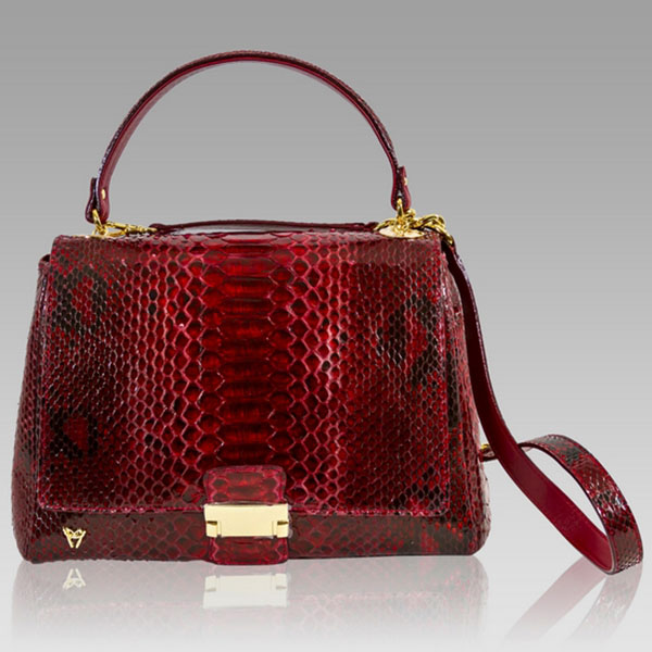 Ghibli  Cartier Red Python Leather Top Handle Bag