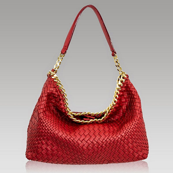 Ghibli  Red Intrecciato Leather Slouchy Bag w/Chain