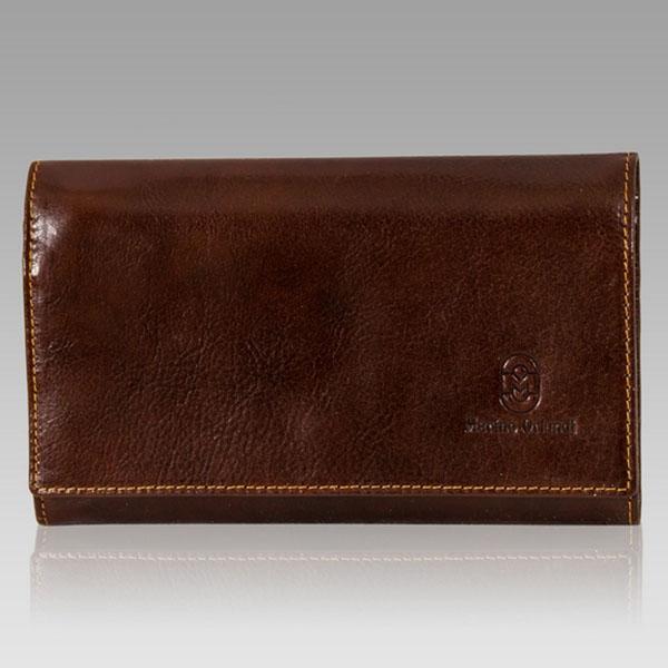 Marino Orlandi  Man'S Chestnut Glazed Leather Wallet Clutch