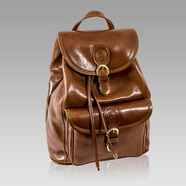 Marino Orlandi  Cognac Leather Large Sling Backpack