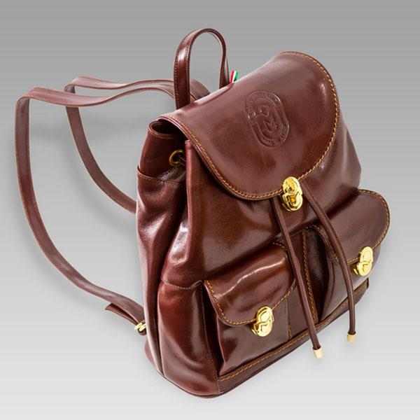 Marino Orlandi  Chestnut Leather Backpack Purse Sling
