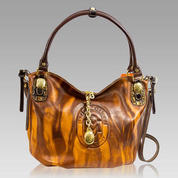 Marino Orlandi  Cognac Glazed Leather Purse Large Crossbody Bag