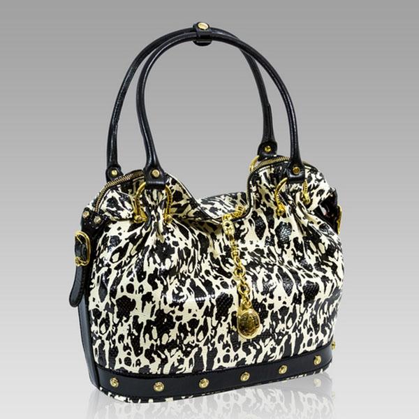 Marino Orlandi  Black/White Python Embossed Slouchy Purse Bag
