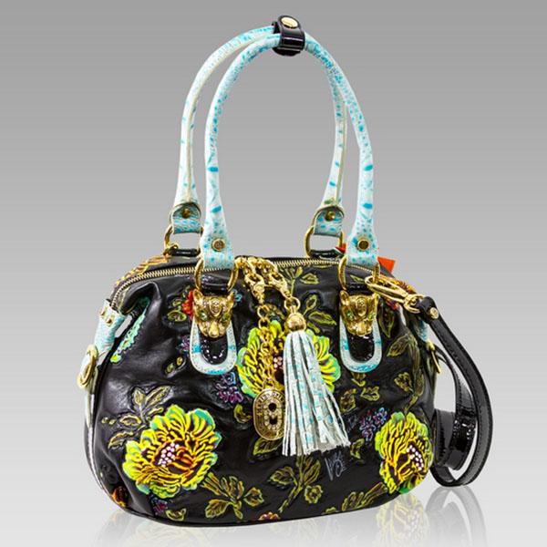 Marino Orlandi  Handpainted Leather w/Blue Flowers Bag