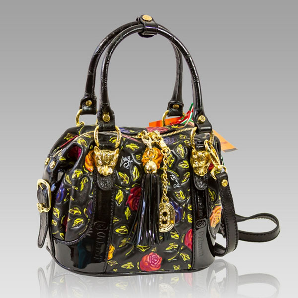 Marino Orlandi  Handpainted Red Roses Leather Boxy Purse Handbag