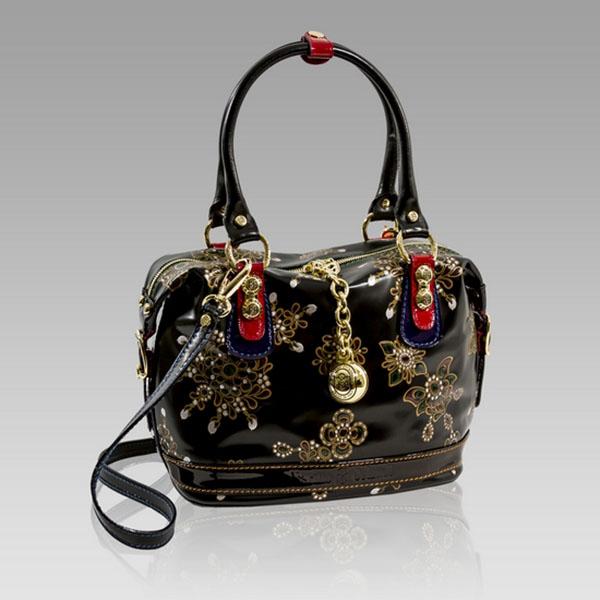 Marino Orlandi  Black Jeweled Leather Crossbody Bag