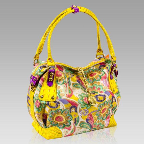 Marino Orlandi  Japa Floral Yellow Leather Large Slouchy Handbag