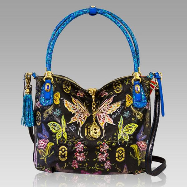 Marino Orlandi  Handpainted Fairies Leather Large Purse Handbag
