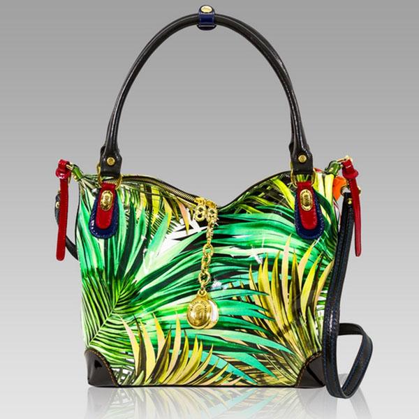 Marino Orlandi  Green Patent Rainforest Print Leather Handbag
