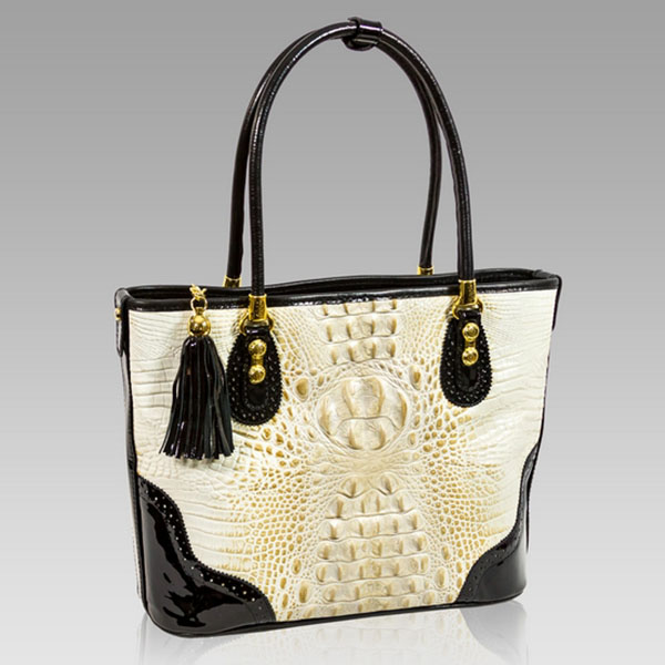 Marino Orlandi Designer Golden Beige Alligator Leather Purse Tote Bag