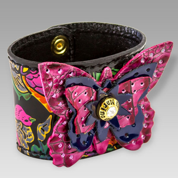 Marino Orlandi  Birds Of Paradise Leather Bracelet W/Butterfly
