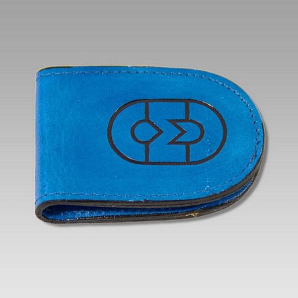 Marino Orlandi  Magentic Blue Leather Money Clip