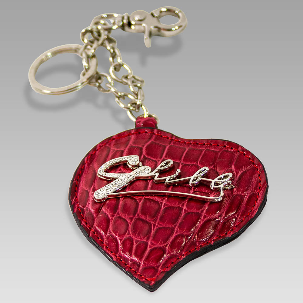 Ghibli Handbag Keychain Crocodile Leather Keyring In Ruby Heart Shape