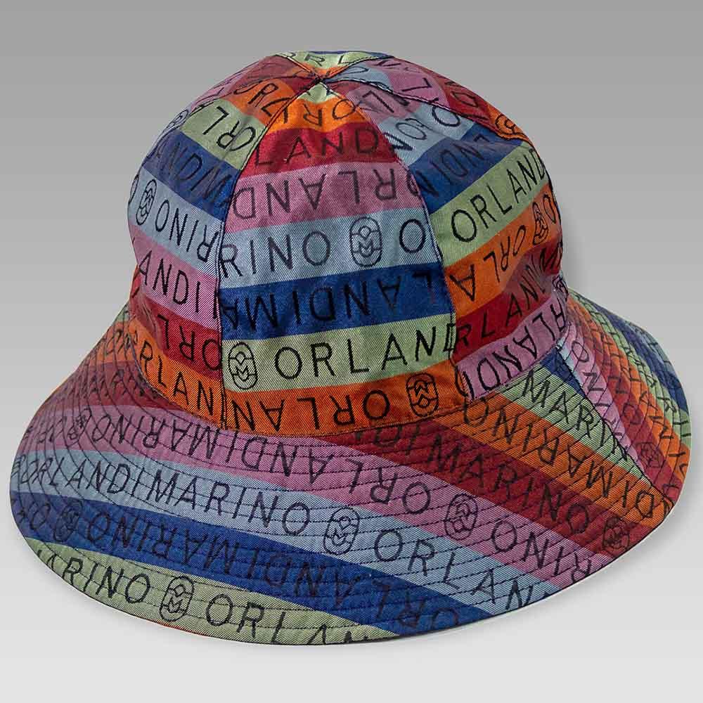 Marino Orlandi Women's Blue Bucket Hat Cap in Tessutto Monogram Print