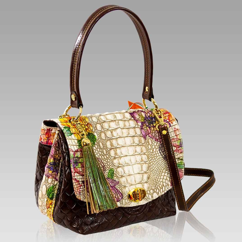Marino Orlandi Handbag Purse Antique Floral Croc Leather Messenger Bag