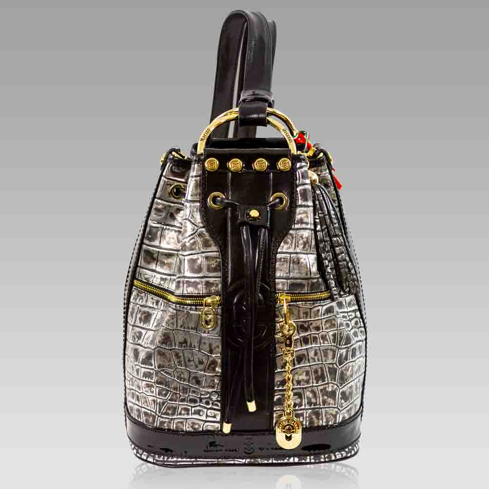 Marino Orlandi Backpack Antique Siver Croc Leather Convertible Purse