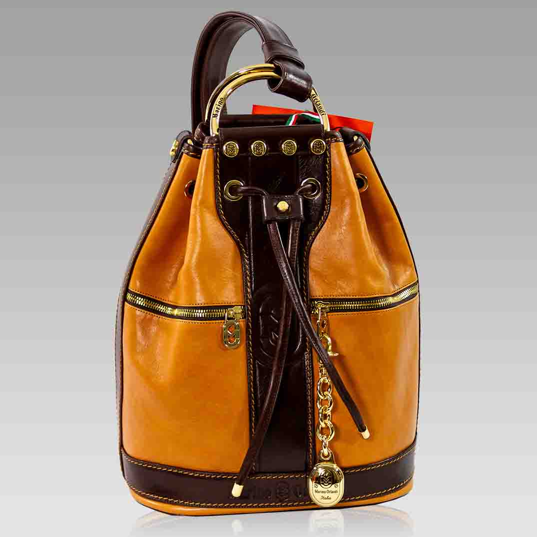 Marino Orlandi Backpack Bucket Cognac Leather Convertible Sling Purse