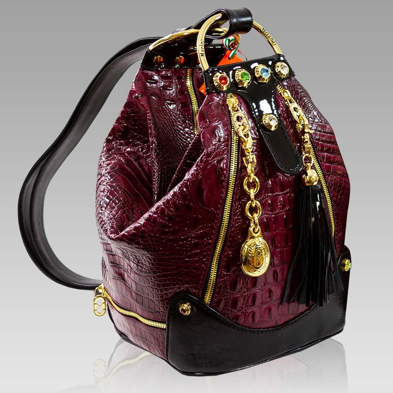 Marino Orlandi Burgundy Alligator Leather Large Convertible Sling Bag