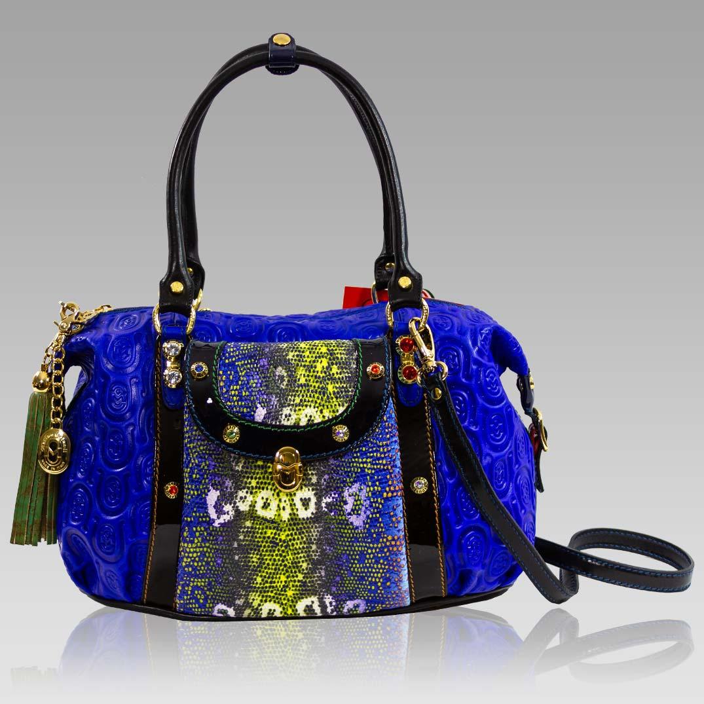 Marino Orlandi Cobalt Blue Quilted Horseshoe Embossed Leather Handbag