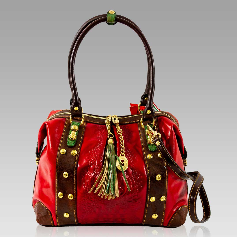 Marino Orlandi Large Handbag Purse Red Alligator Leather Crossbody Bag