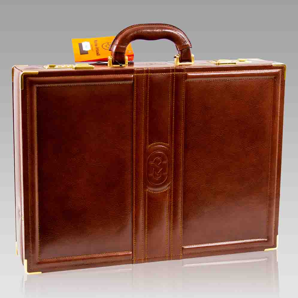 Marino Orlandi Large Briefcase Viceroy Aged Cognac Leather Attache Bag