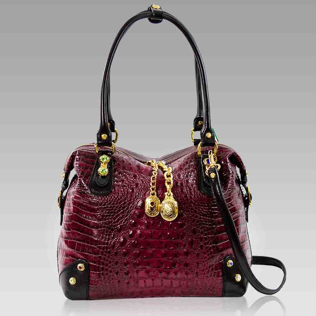 Marino Orlandi Large Burgundy Alligator Leather Boxy Bag w/Swarovski