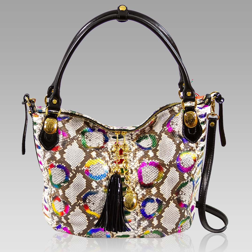 Marino Orlandi Large Tote Purse Rainbow Python Leather Crossbody Bag