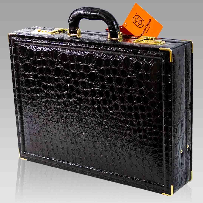 Marino Orlandi Large Viceroy Briefcase Black Croc Leather Attache Bag