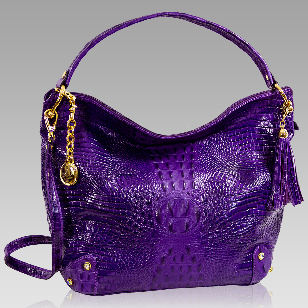 Marino Orlandi Oversized Grape Purple Alligator Leather Crossbody Bag