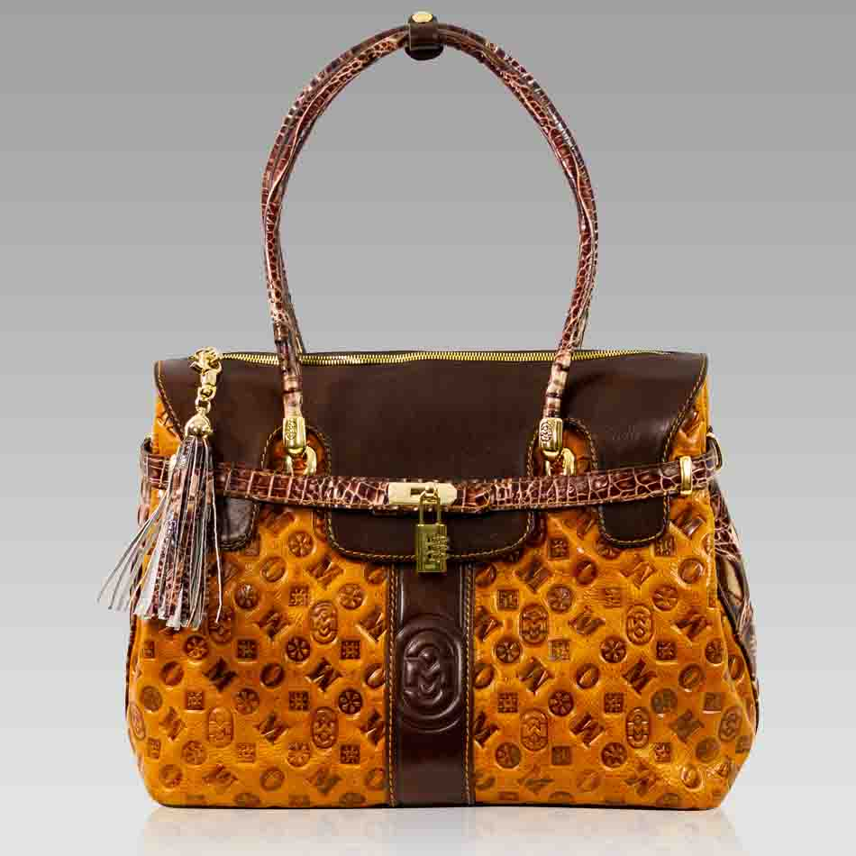 Marino Orlandi Oversized Tote Purse Cognac Quilted Leather Satchel Bag