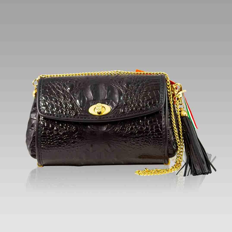 Marino Orlandi Purse Black Alligator Leather Baguette Clutch w/Chain