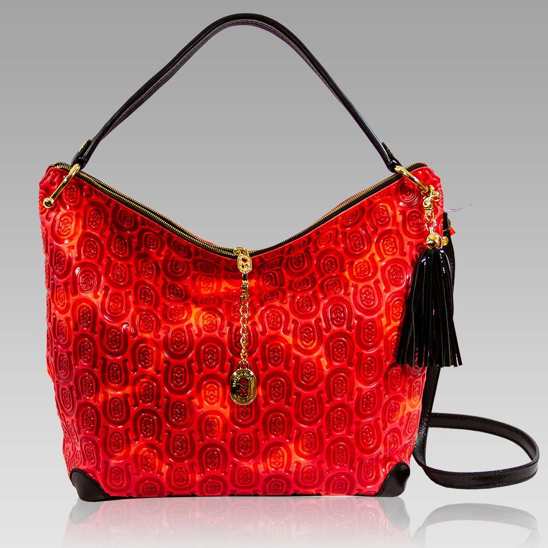 Marino Orlandi Quilted Horseshoe Embossed Red Leather Crossbody Bag