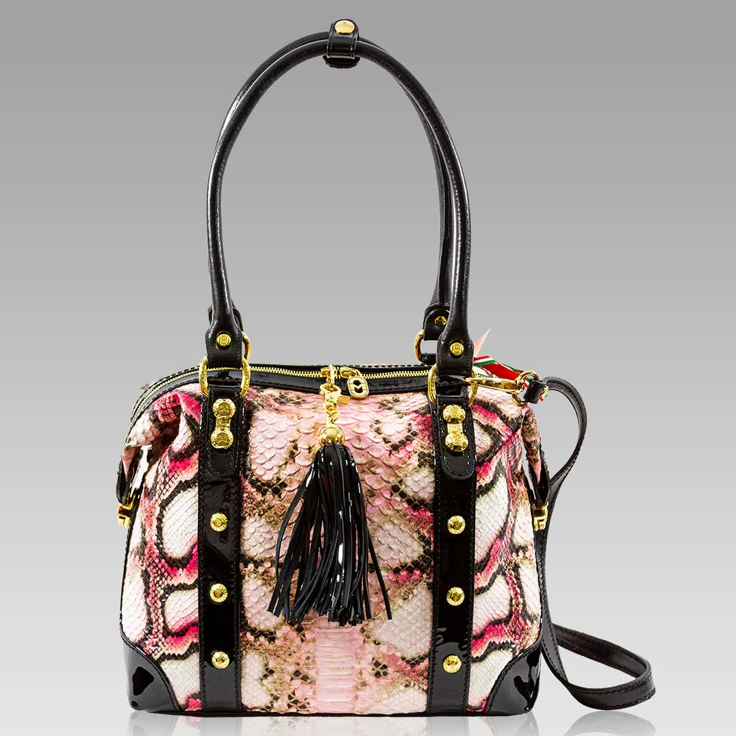 Marino Orlandi Handbag Tote Purse Rose Python Leather Crossbody Bag