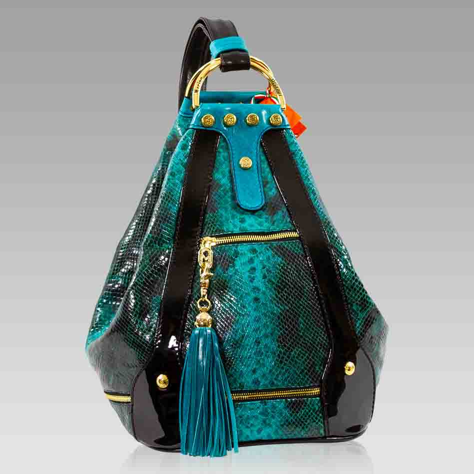 Marino Orlandi Seafoam Green Python Leather Convertible Oversized Bag