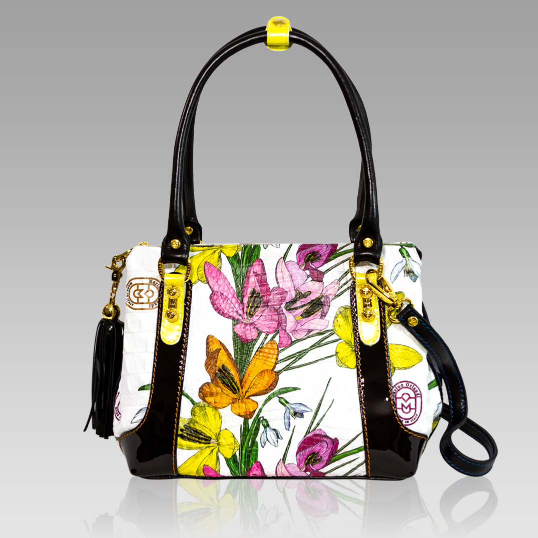 Marino Orlandi Yellow Flowers Embossed Leather Purse Crossbody Bag