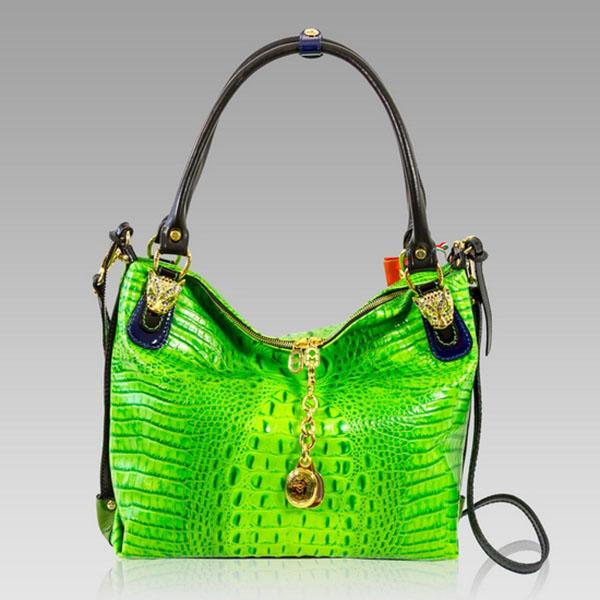 Marino Orlandi Green Alligator Leather Oversized Crossbody Bag