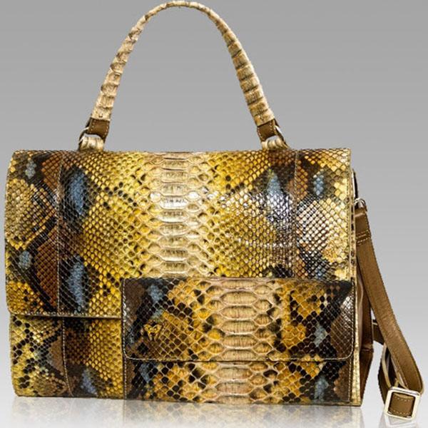 Ghibli Designer Topaz Brown Python Leather Top Handle Bag & Wallet Set