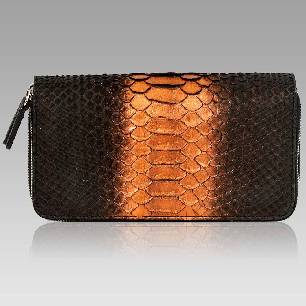 Silvano Biagini Large Wallet Python Leather Clutch in Chocolate Opal