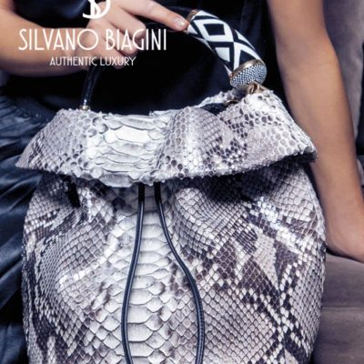 Silvano Biagini Anthracite Python Leather Bucket Bag w/Zebra Handle