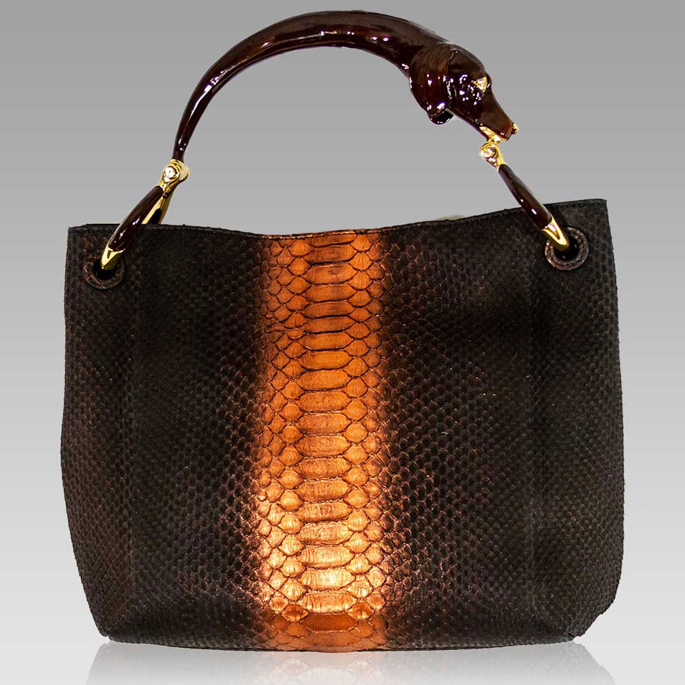 Silvano Biagini Large Python Leather Bag in Chocolate Opal Dog Handle
