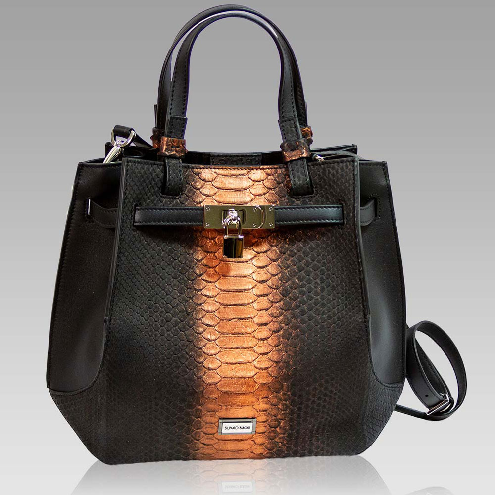 Silvano Biagini Purse Python Leather Crossbody Bag in Chocolate Opal