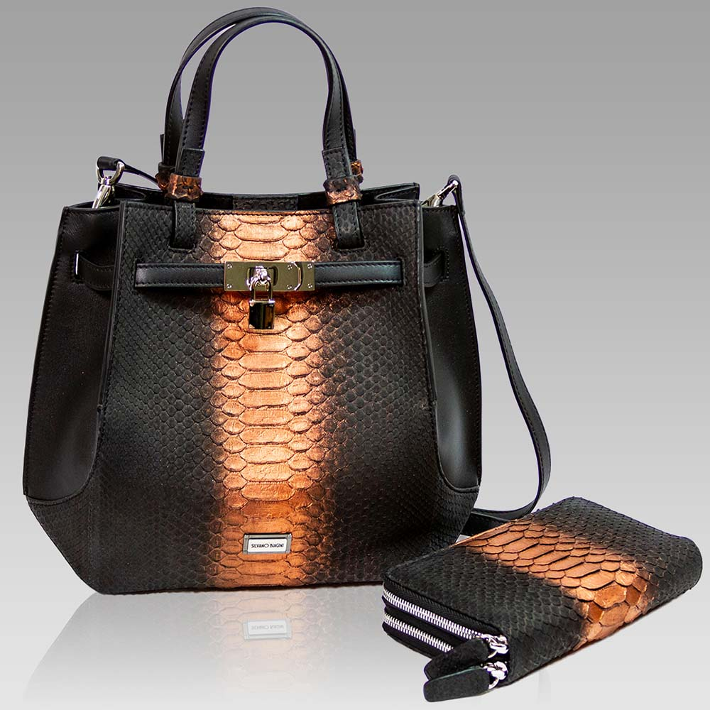Silvano Biagini Purse Python Leather Bag in Chocolate Opal Wallet Set