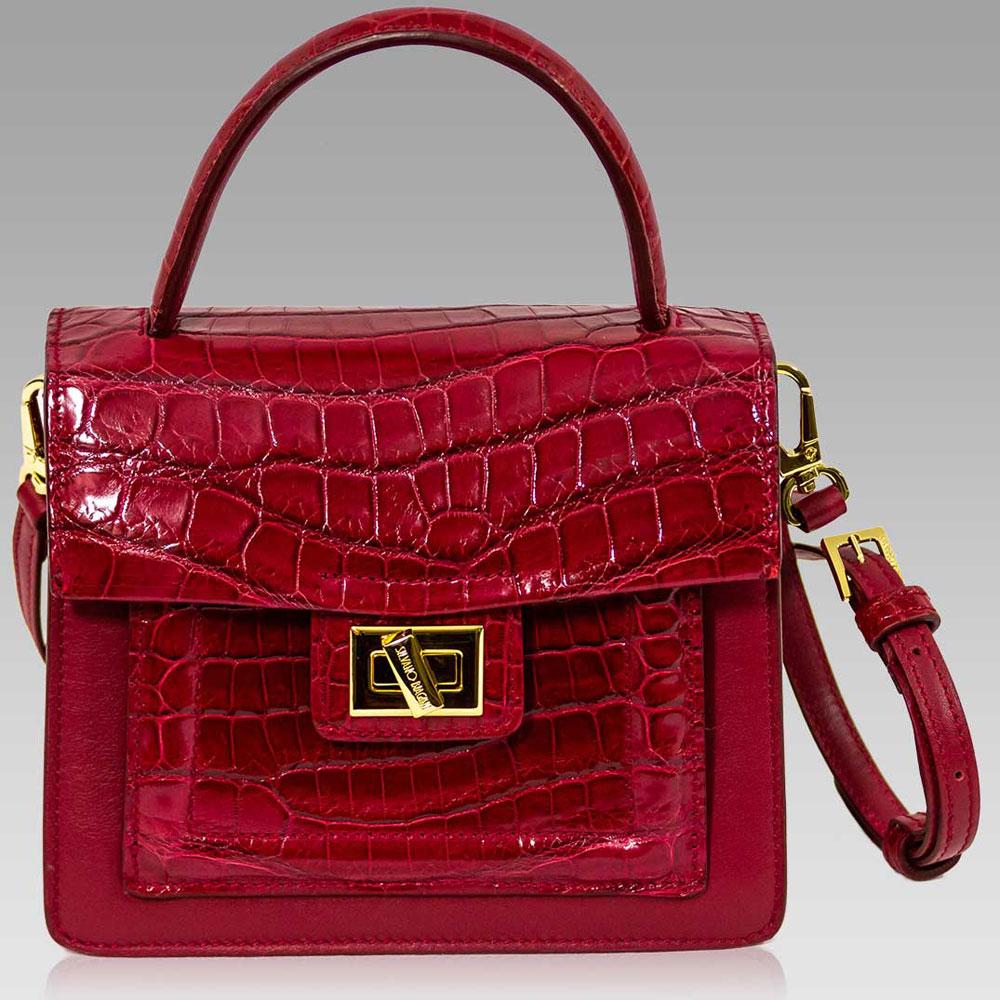 Silvano Biagini Handbag Crocodile Leather Box Crossbody Bag in Garnet