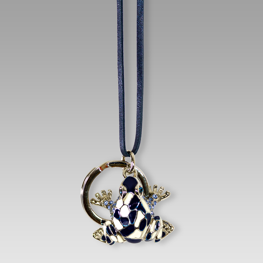 Silvano Biagini Swarvoski Rhodium Plated Frog Keychain Keyring
