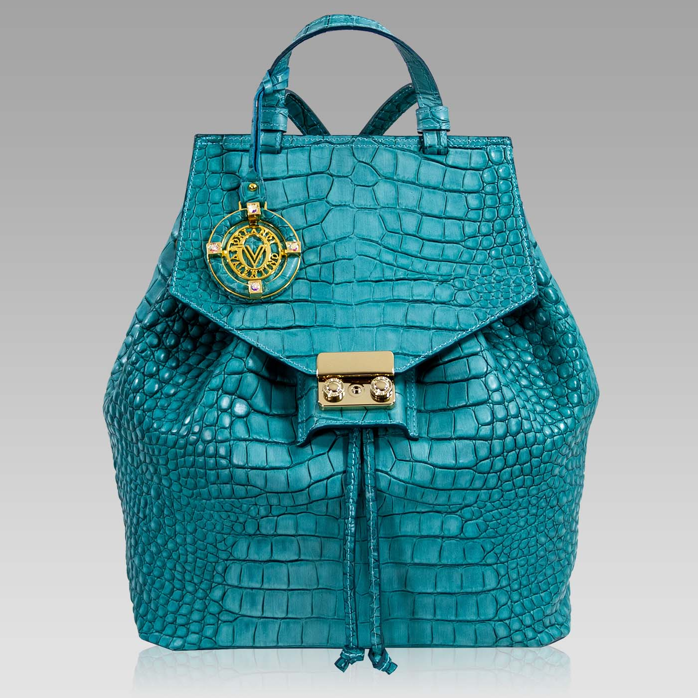 Valentino Orlandi Backpack Deco Blue Croc Embossed Leather Bucket Bag