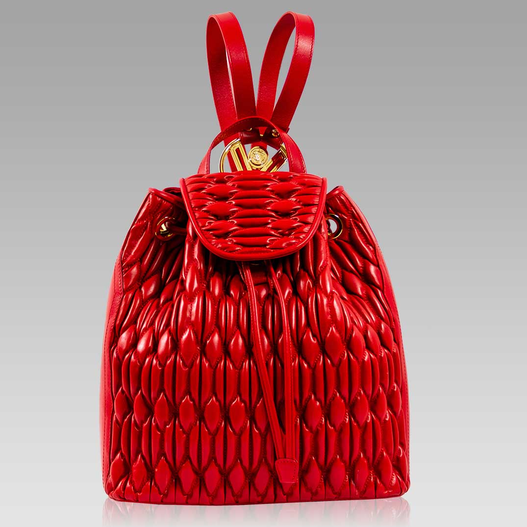 Valentino Orlandi Backpack Scarlet Red Quilted Leather Bucket Tote Bag