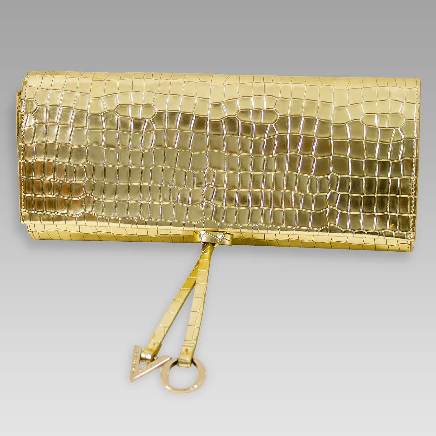 Valentino Orlandi Envelope Clutch Purse Gold Croc Embossed Leather Bag