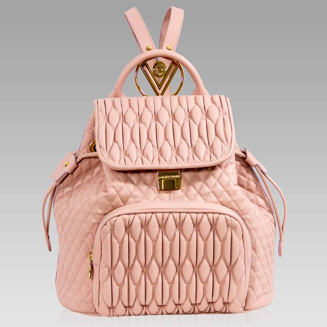 Valentino Orlandi Large Backpack Nude Quilted Leather Bucket Bag Purse