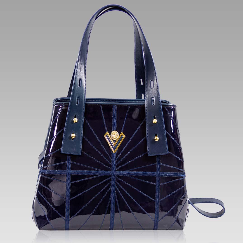 Valentino Orlandi Large Handbag Tote Midnight Blue Wavy Leather Purse