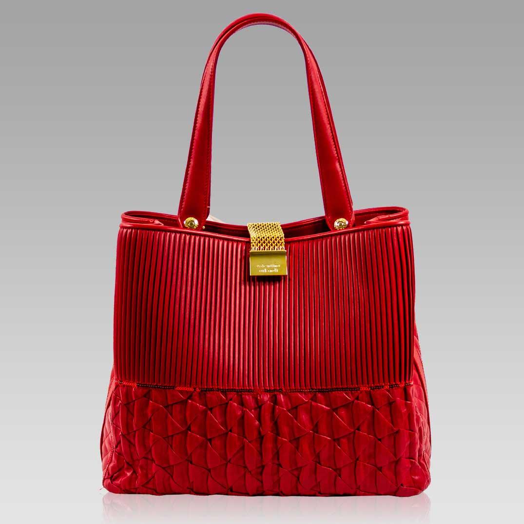 Valentino Orlandi Large Handbag Tote Scarlet Red Pleated Leather Purse